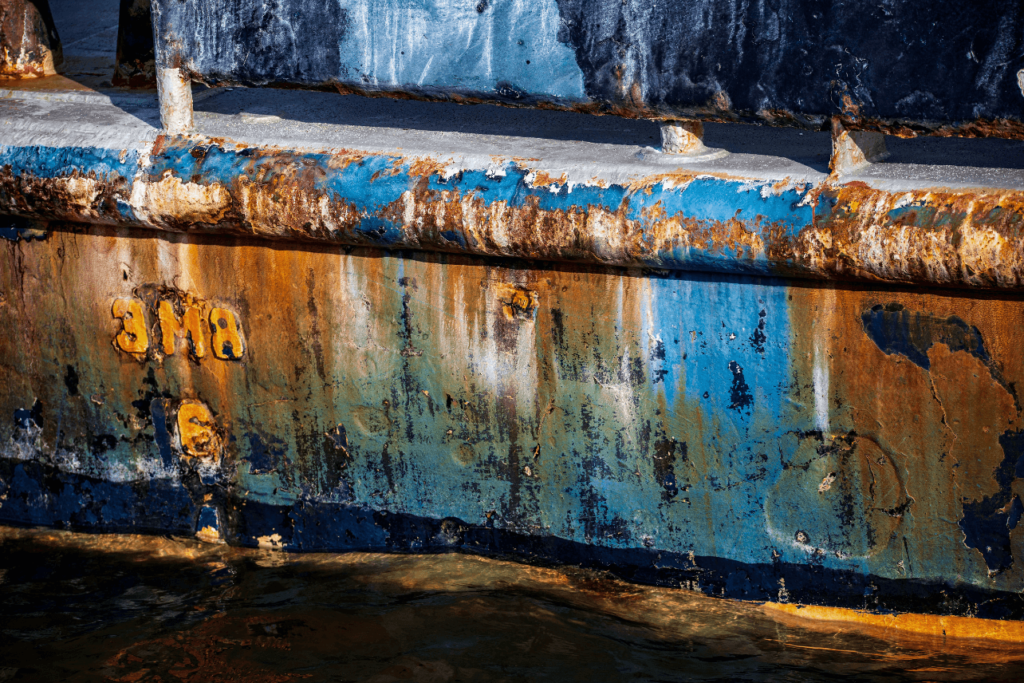 Corroded exterior of a boat