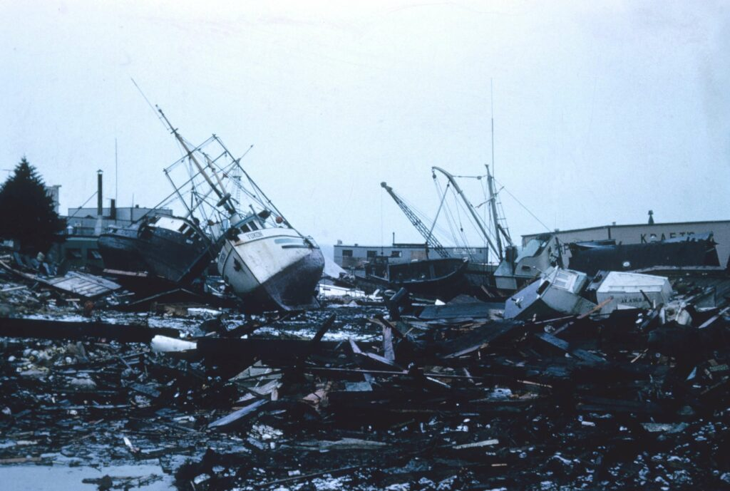 Sailboats and other debris as hurricane wreckage