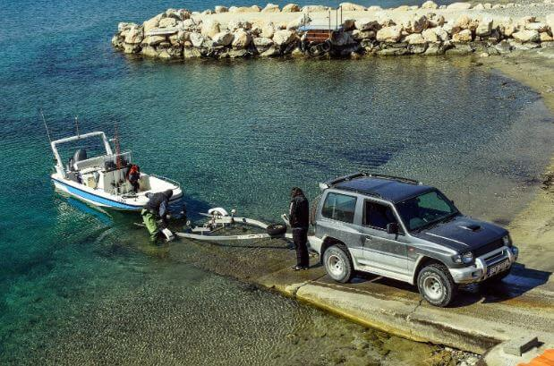 Trailering a boat to be taken out of the water and transported
