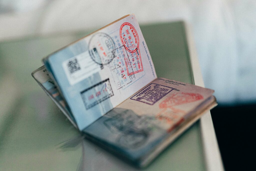 Chinese visa stamps in a US passport