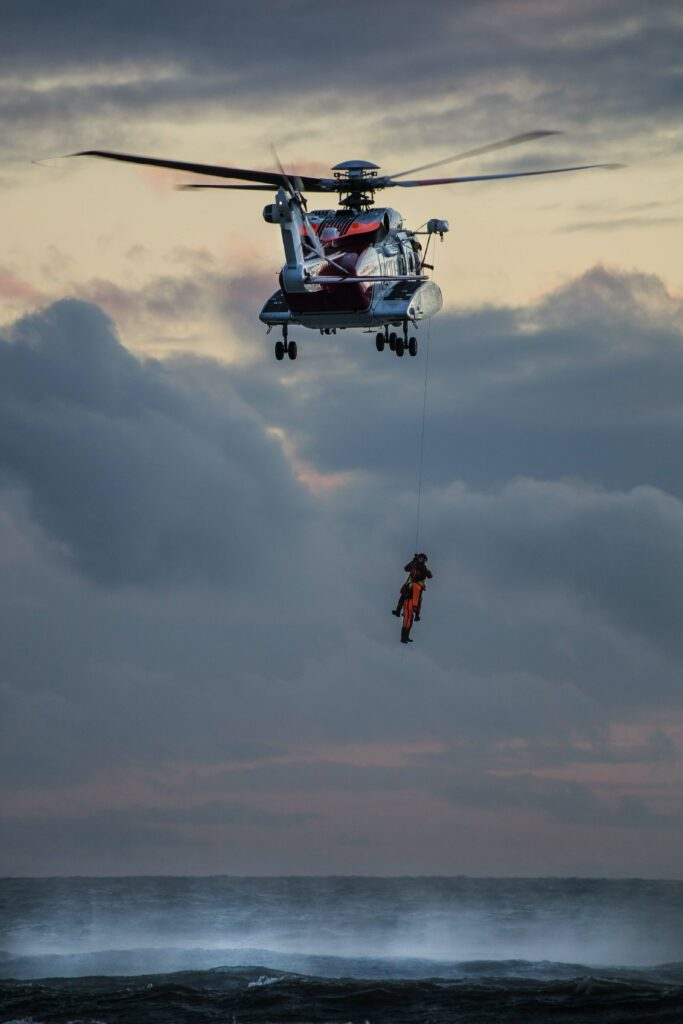 Coast guard helicopter rescue at sea