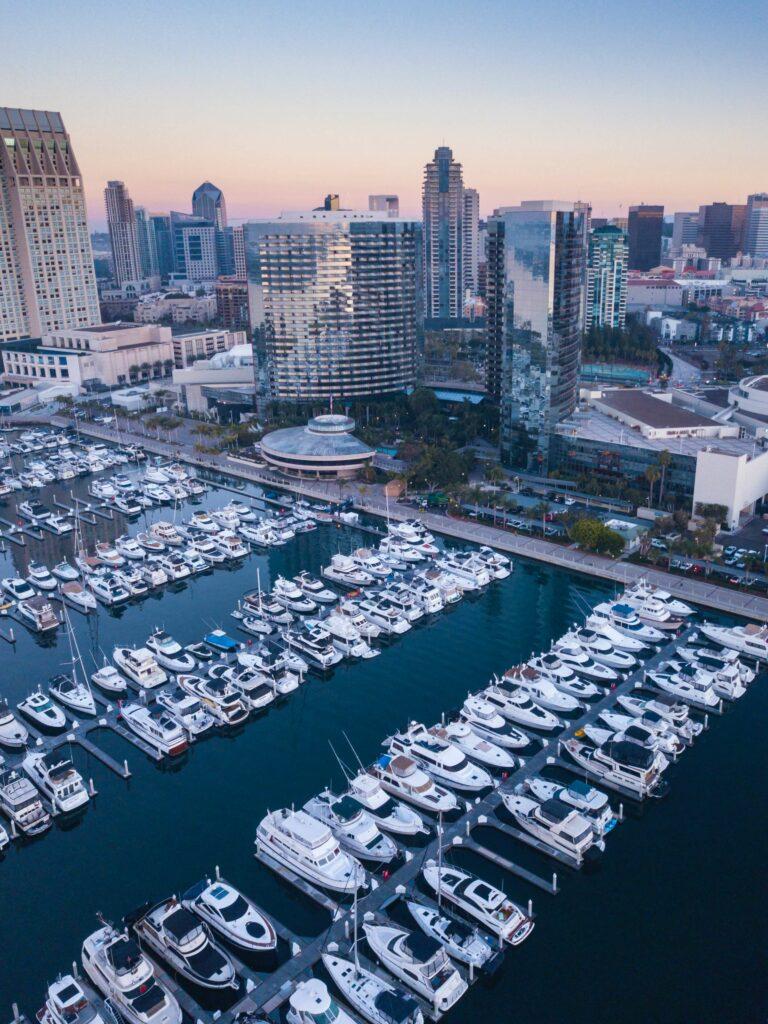Yacht marina near a big city backdrop