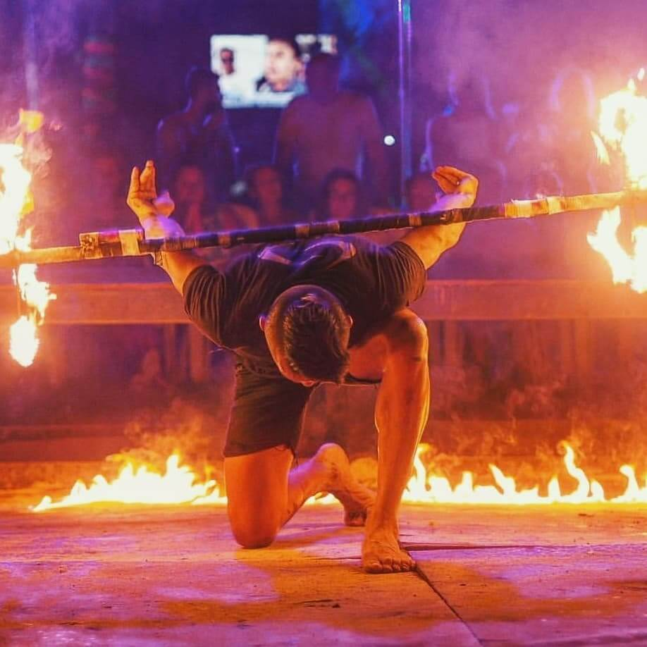 Fire show performance by a local on Party Beach at Phi Phi Don