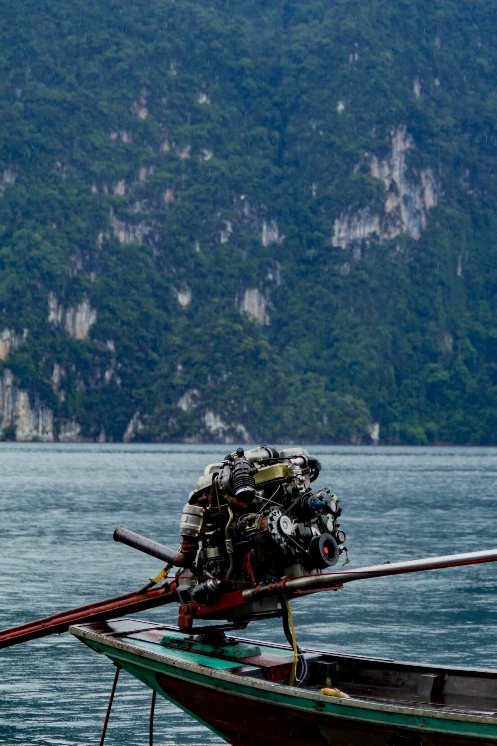 Self constructed outboard motor on a longtail boat in Thailand