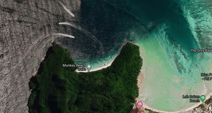 Aerial shot of Monkey Beach in Koh Phi Phi, Thailand