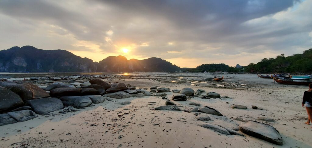 Sunset over Tonsai Bay in Koh Phi Phi, Thailand