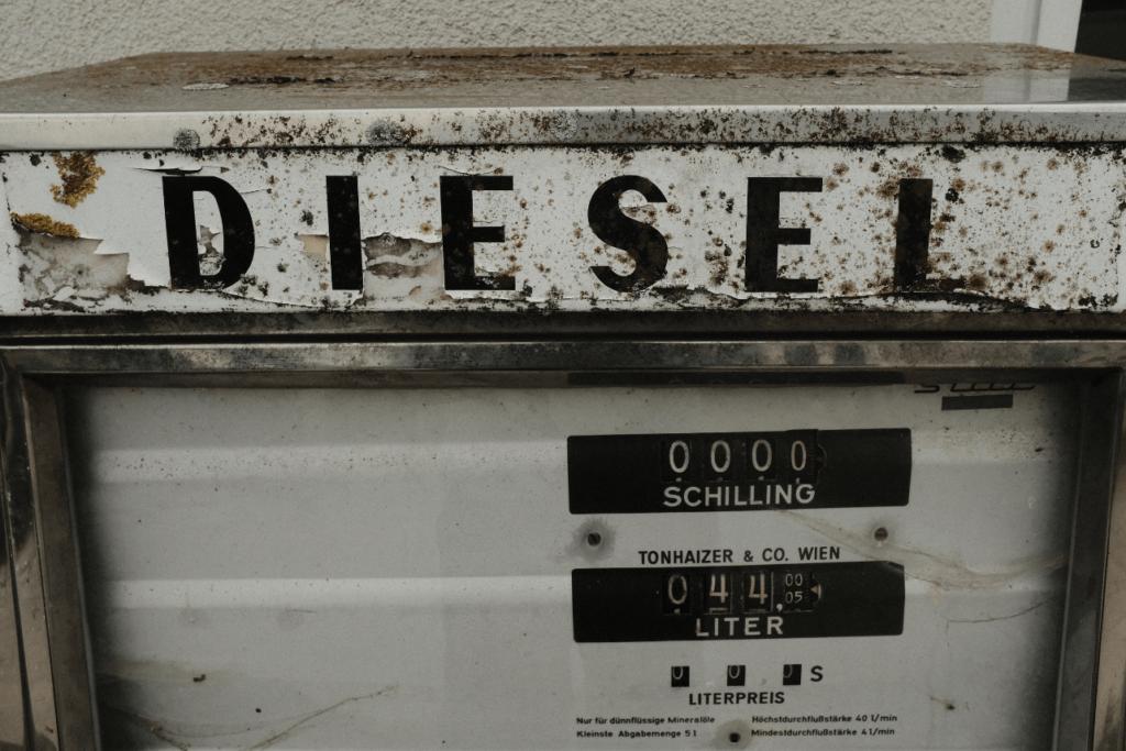 Vintage white diesel fuel pump