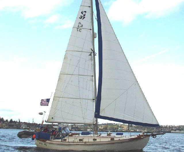 Tayana 37 bluewater sailboat with an American flag