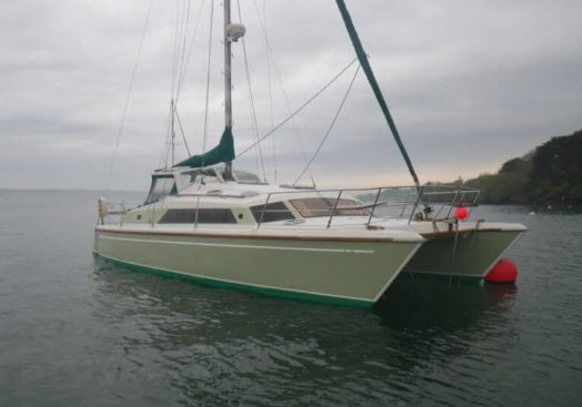 Prout Snowgoose 37 catamaran on a mooring line