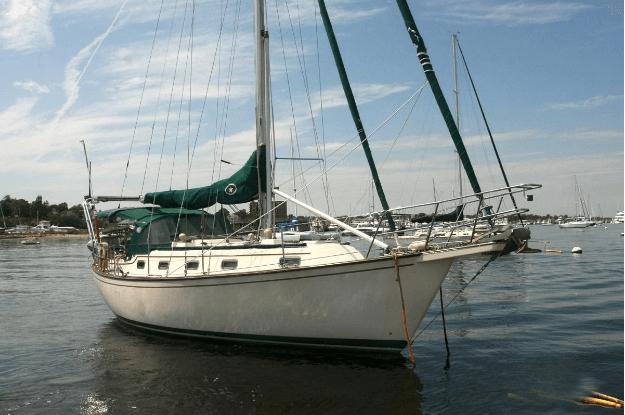 Island Packet 35 sailboat anchored at harbor