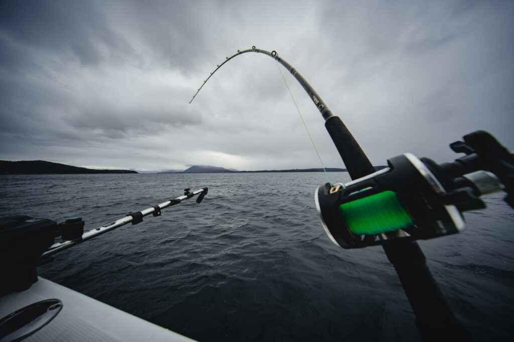 Fishing rod set up on an outrigger