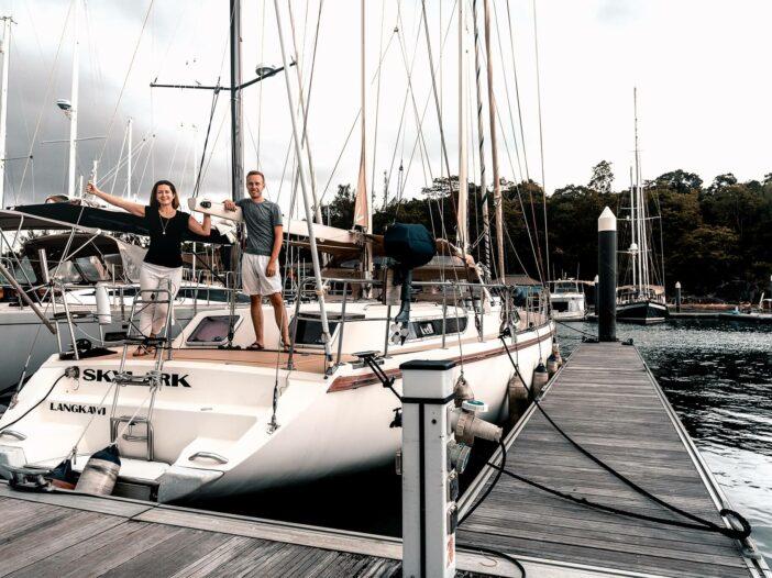 Jennifer Likins and Chris Likins on their sailboat SV Skylark