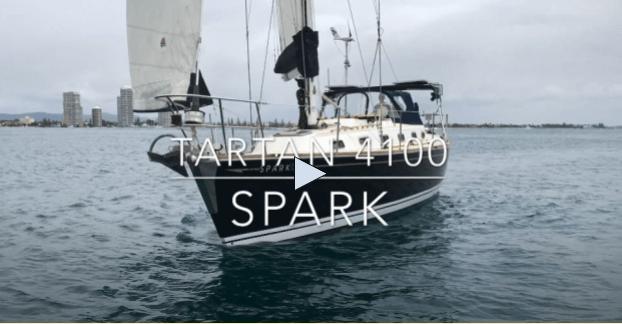 Tartan 4100 Spark sailboat on a cloudy day