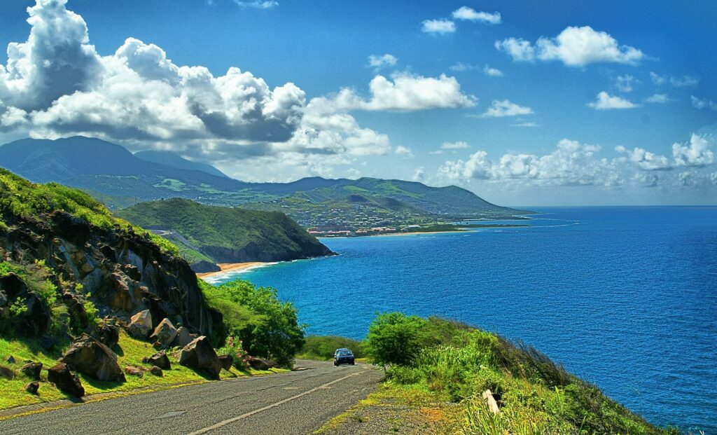 A winding coastal road in Saint Kitts and Nevis