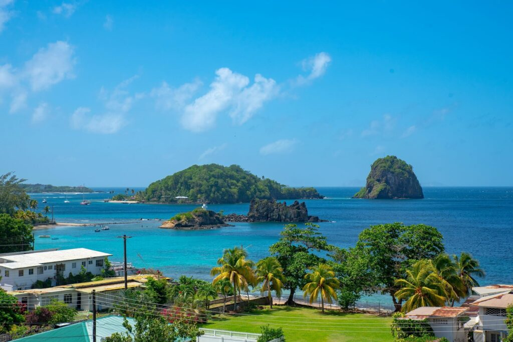 Coastal community near the clear blue waters of Saint Vincent and the Grenadines