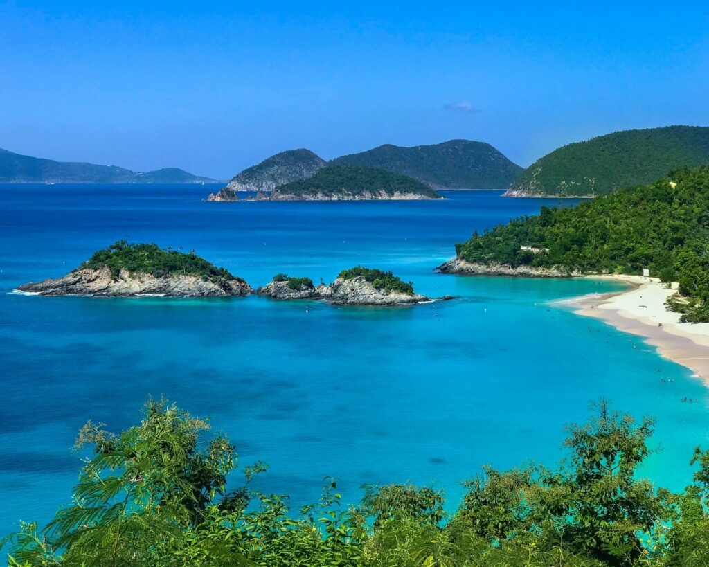 The clear blue waters along the coastline of the US Virgin Islands
