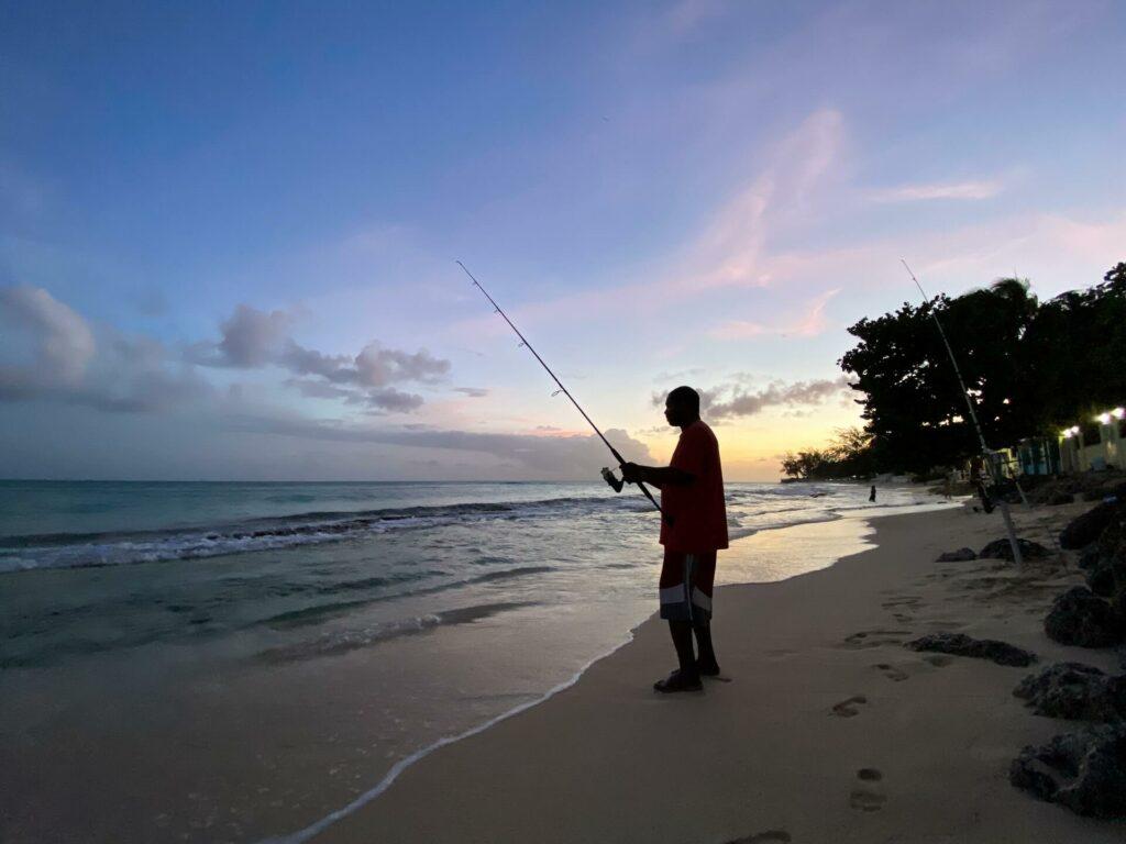 Barbados man shore fishing