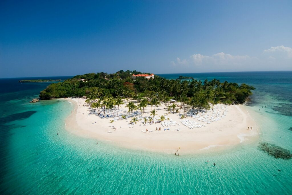 Drone shot of a beach resort in the Dominican Republic