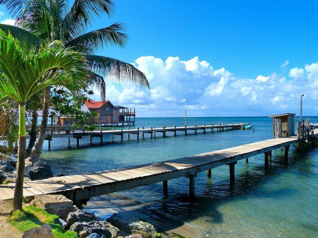 Ocean pier in Honduras on a sunny day