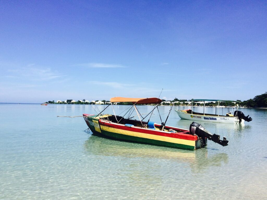 Fishing boat near the beach in Jamaica