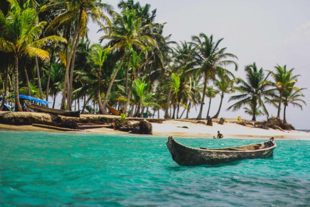 A tribal fishing canoe on the shores of Panama