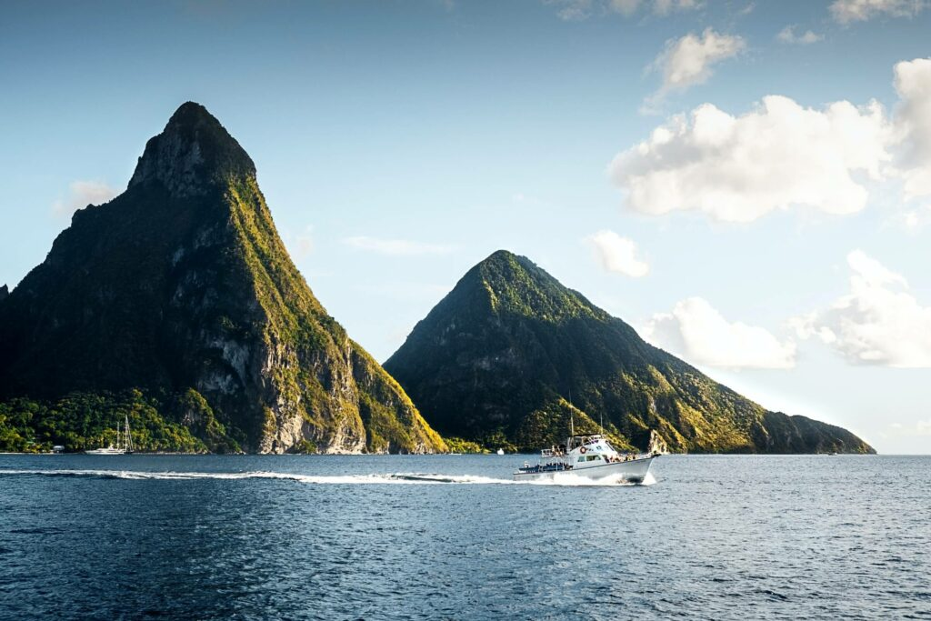The Piton Mountains tower above the seas of Saint Lucia