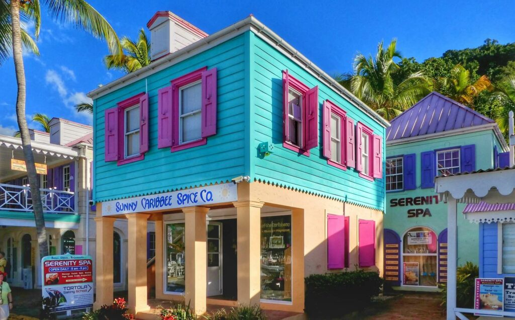 A colorful beach town in the British Virgin Islands