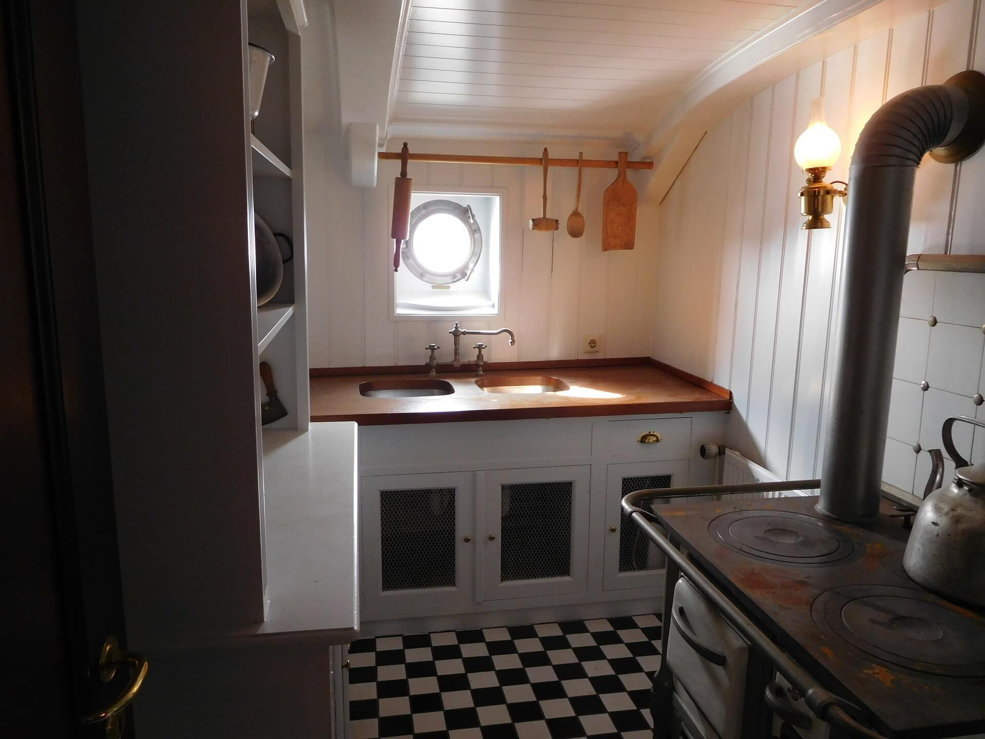 checkered floor boat galley