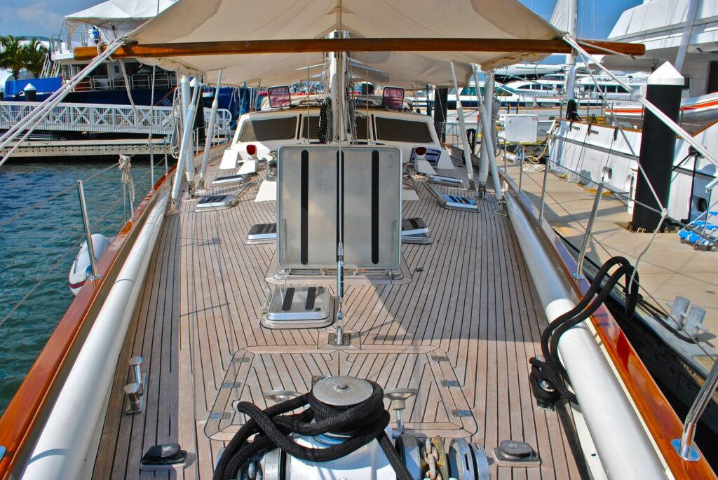 Shaded deck area on a sailboat