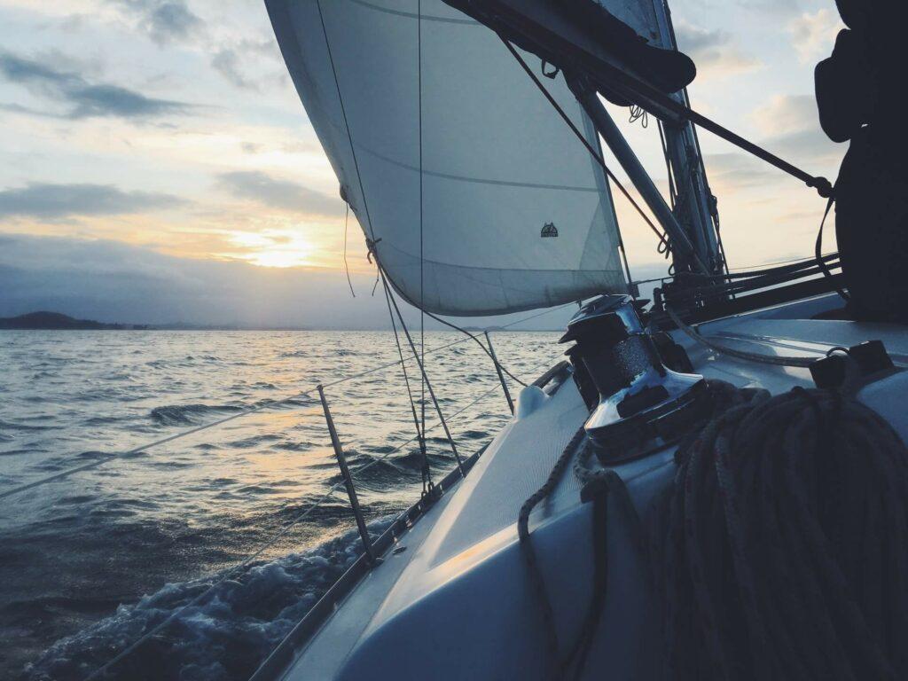 sunset open sea sailing
