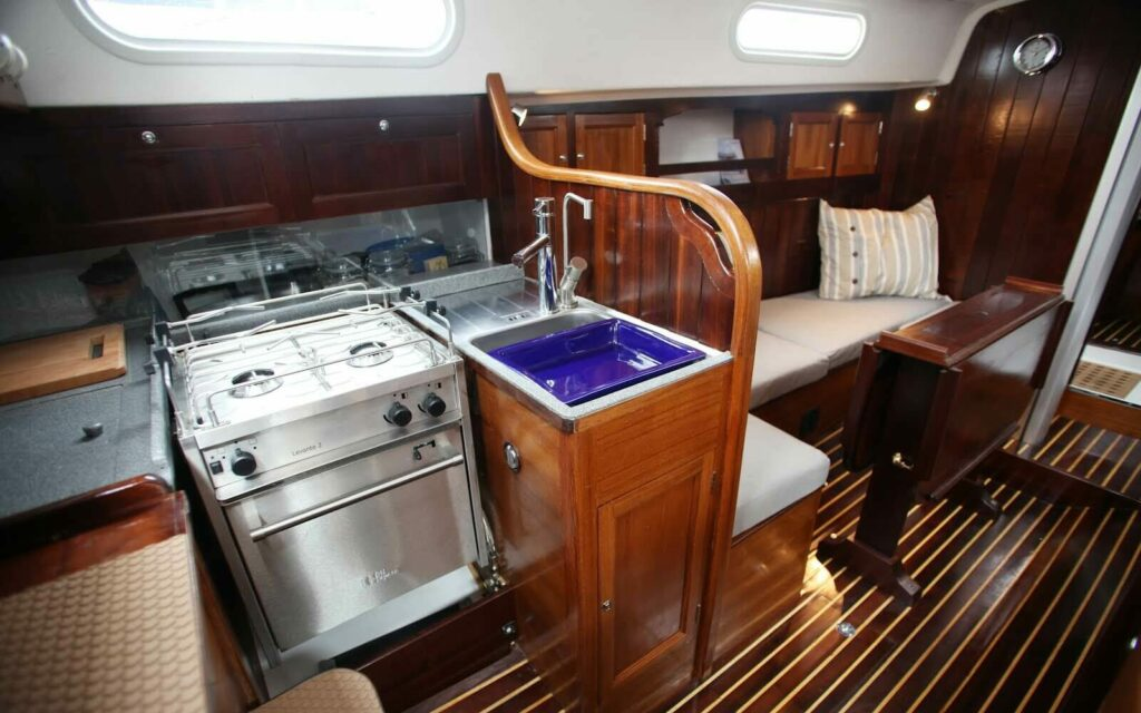 Functional wooden boat galley