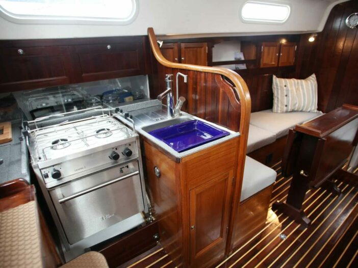 wooden functional boat galley