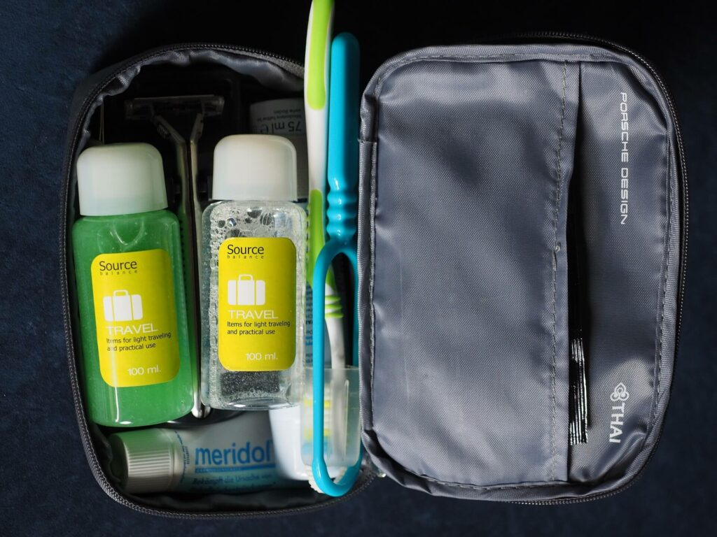 Travel sized toiletries for a sailing holiday