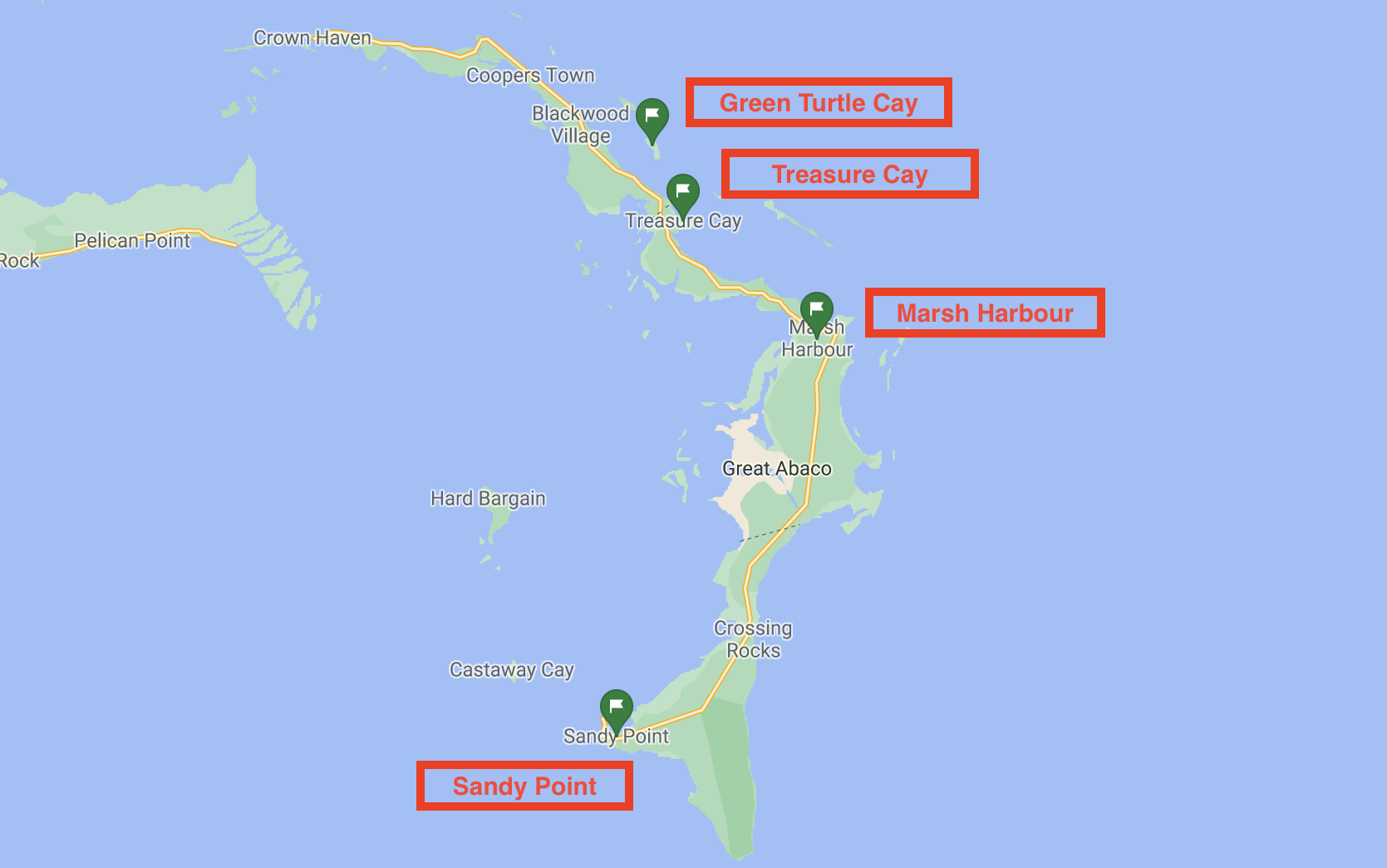 Map of Great Abaco ports of entry