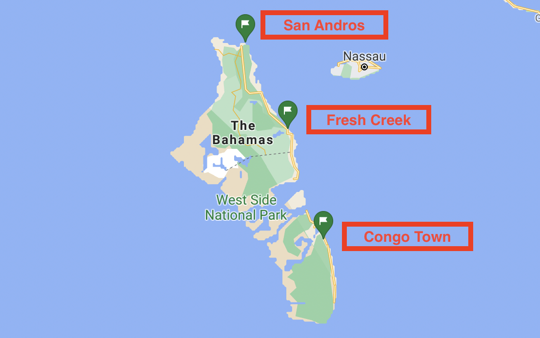 Map of Andros ports of entry