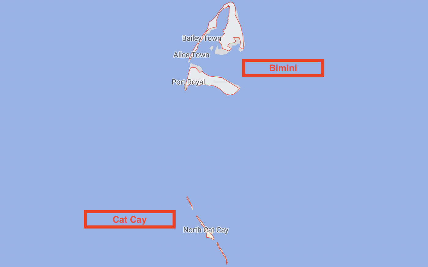 Map of Bimini and Cat Cay ports of entry