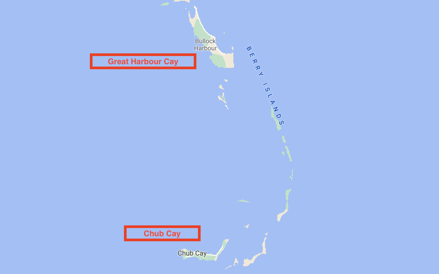 Map of Berry Islands ports of entry