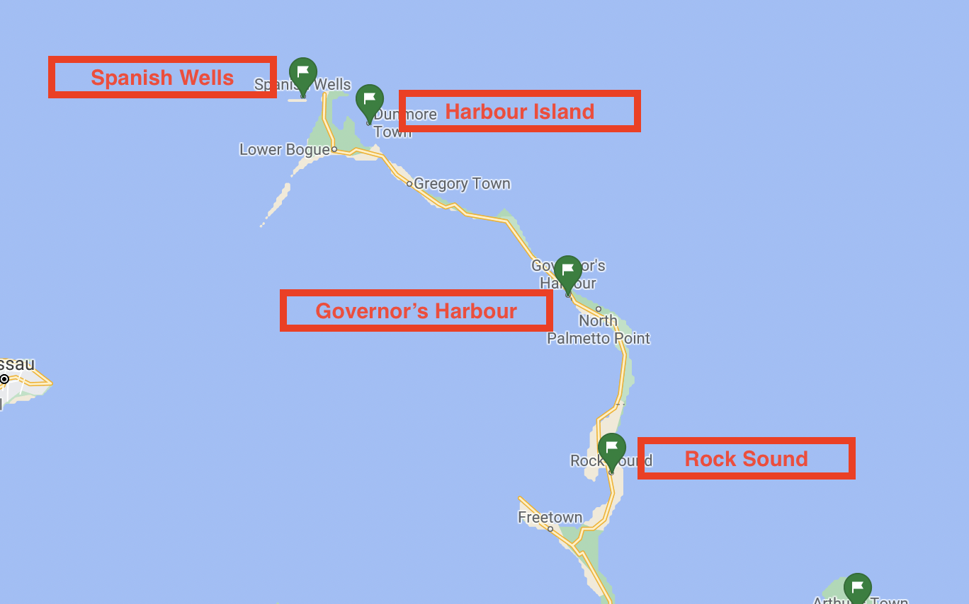 Map of Eleuthera ports of entry