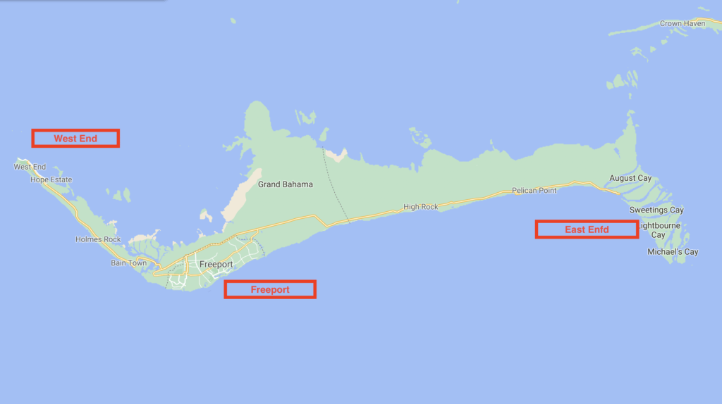 Map of Grand Bahama ports of entry