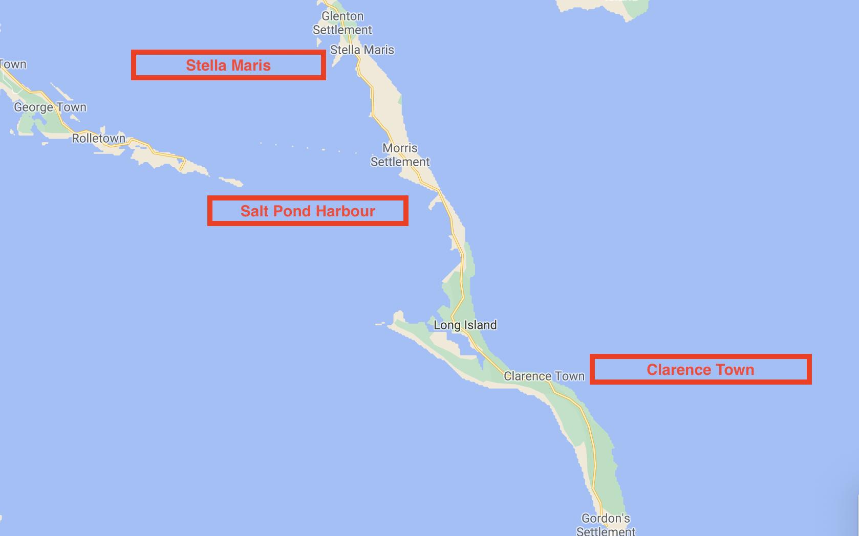 Map of Long Island Bahamas ports of entry