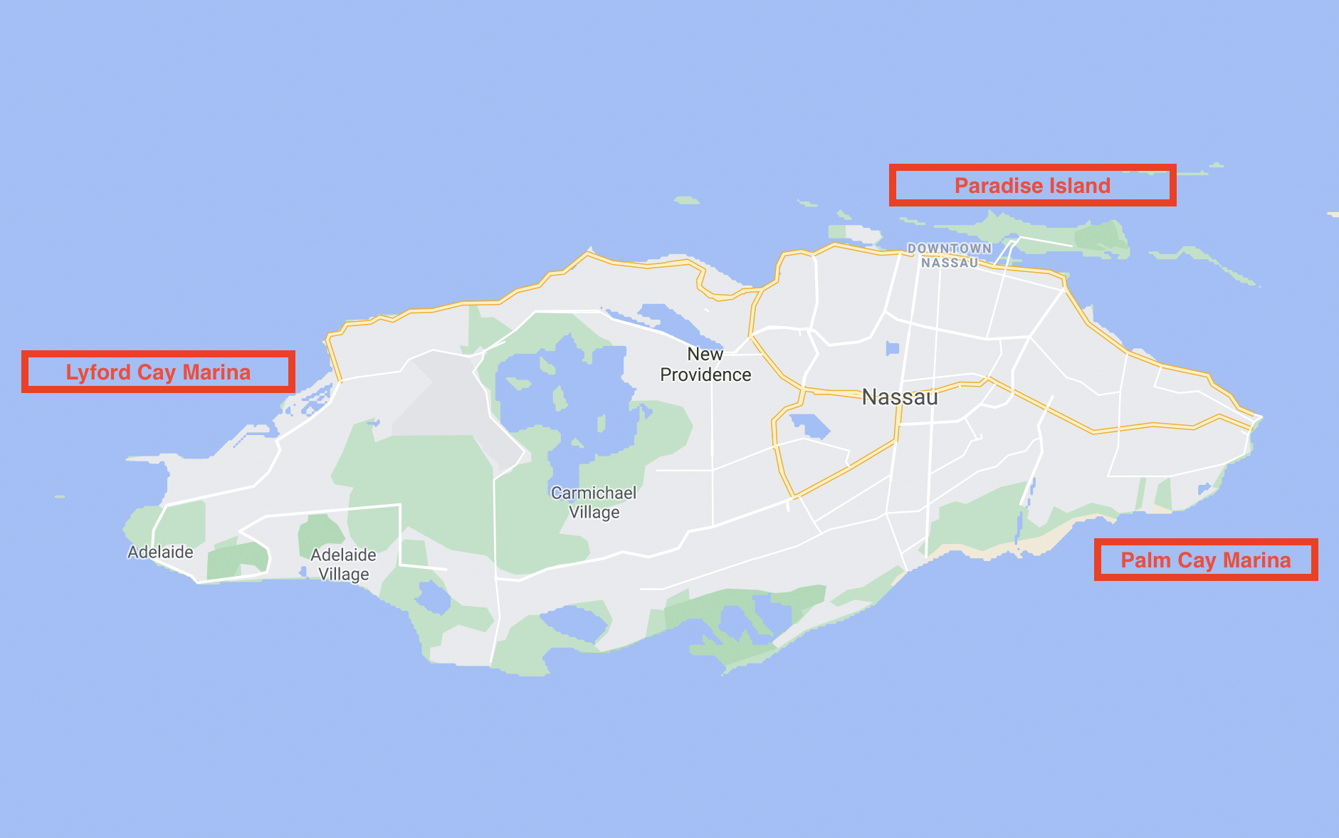 Map of New Providence ports of entry