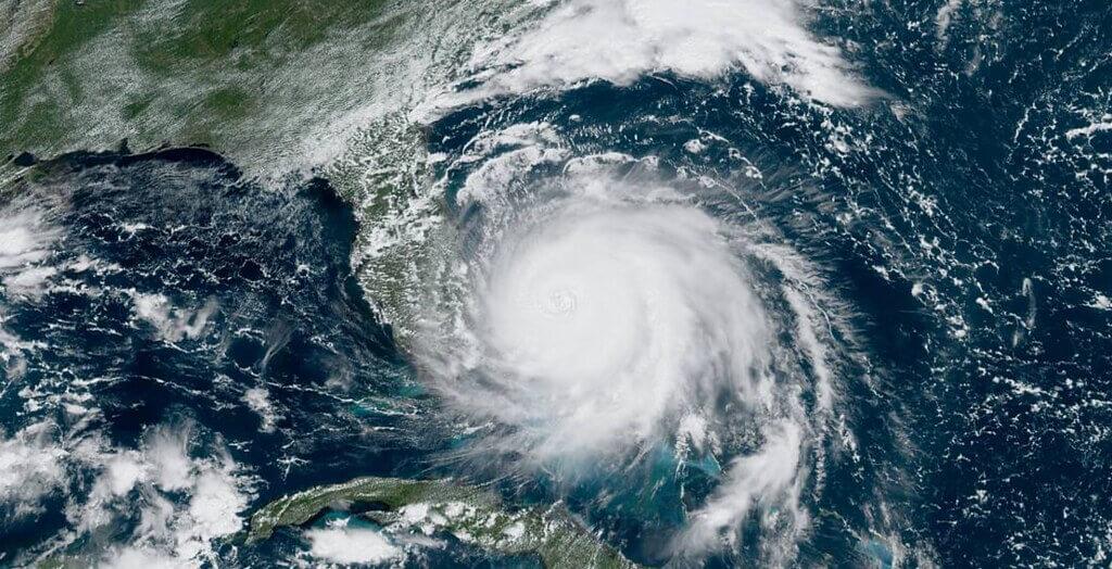 Aerial view of Hurricane Dorian over the Bahamas