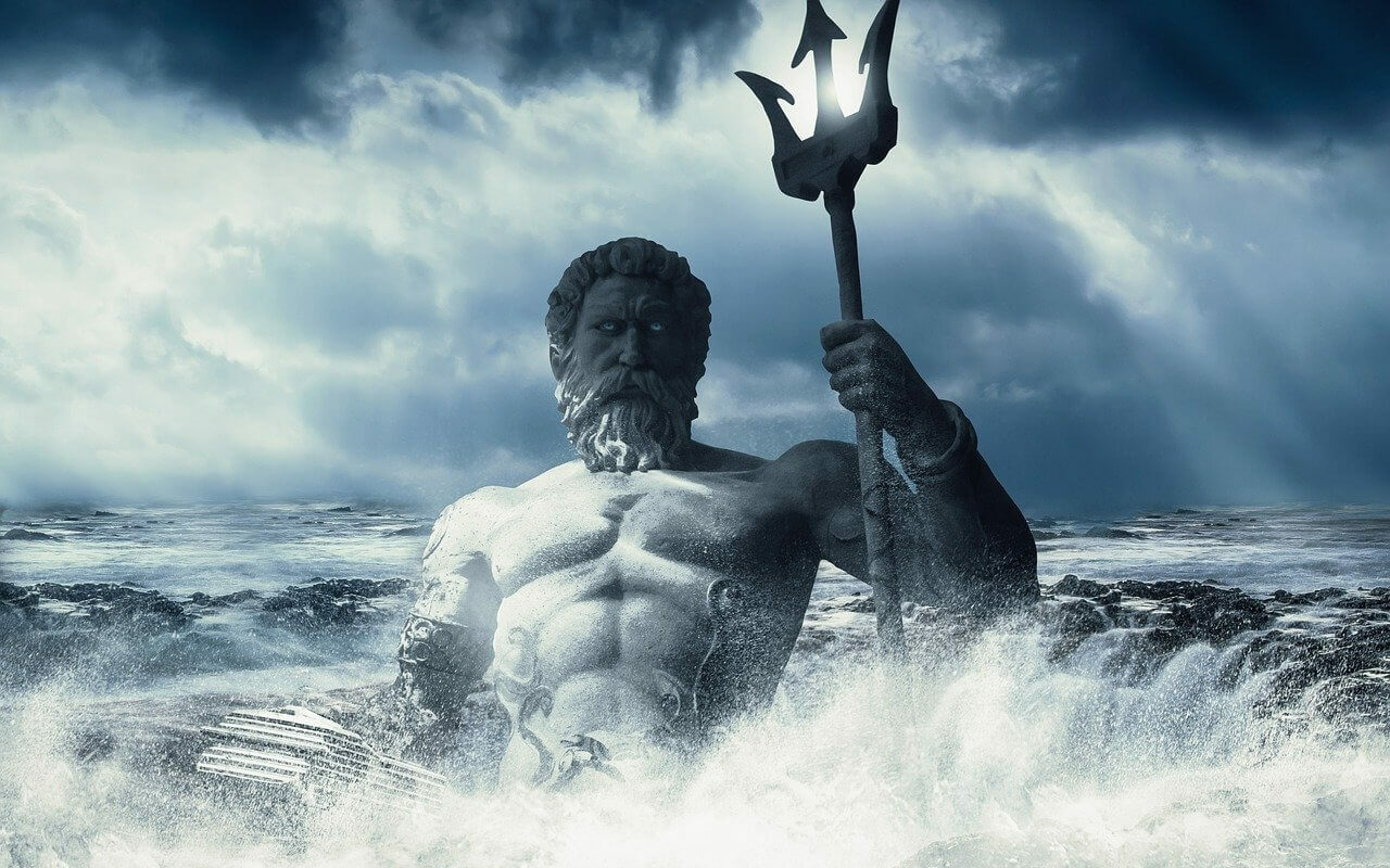 Poseidon holding his trident in the middle of a stormy sea.