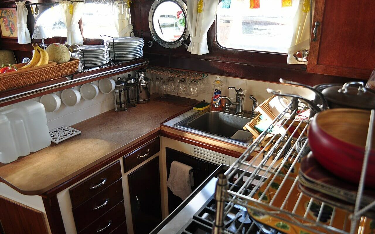 a small boat galley arranged for living on a boat