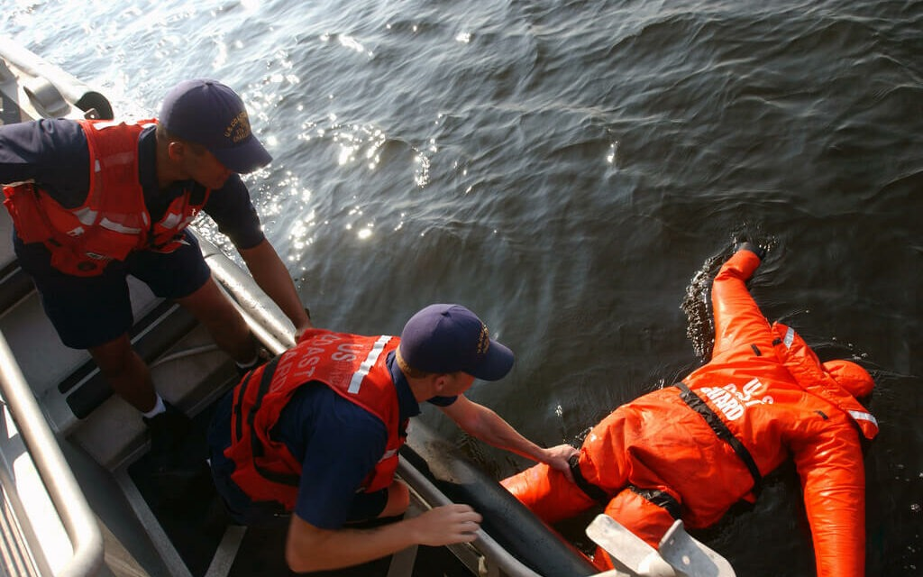 The US Coast Guard practices an emergency rescue drill at sea